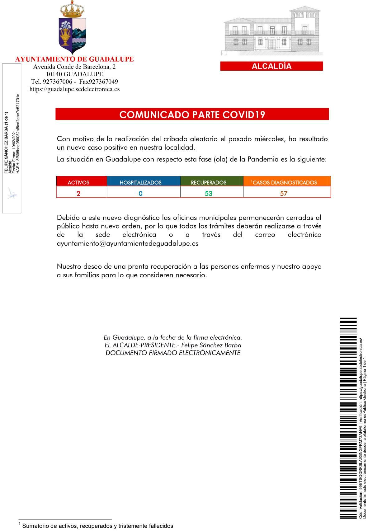 2 casos positivos activos de COVID-19 (febrero 2021) - Guadalupe (Cáceres)
