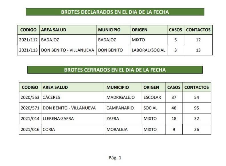 3 casos positivos activos y brote cerrado de COVID-19 (febrero 2021) - Madrigalejo (Cáceres)