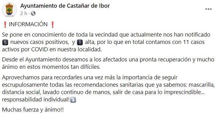 5 nuevos casos positivos de COVID-19 (febrero 2021) - Castañar de Ibor (Cáceres)
