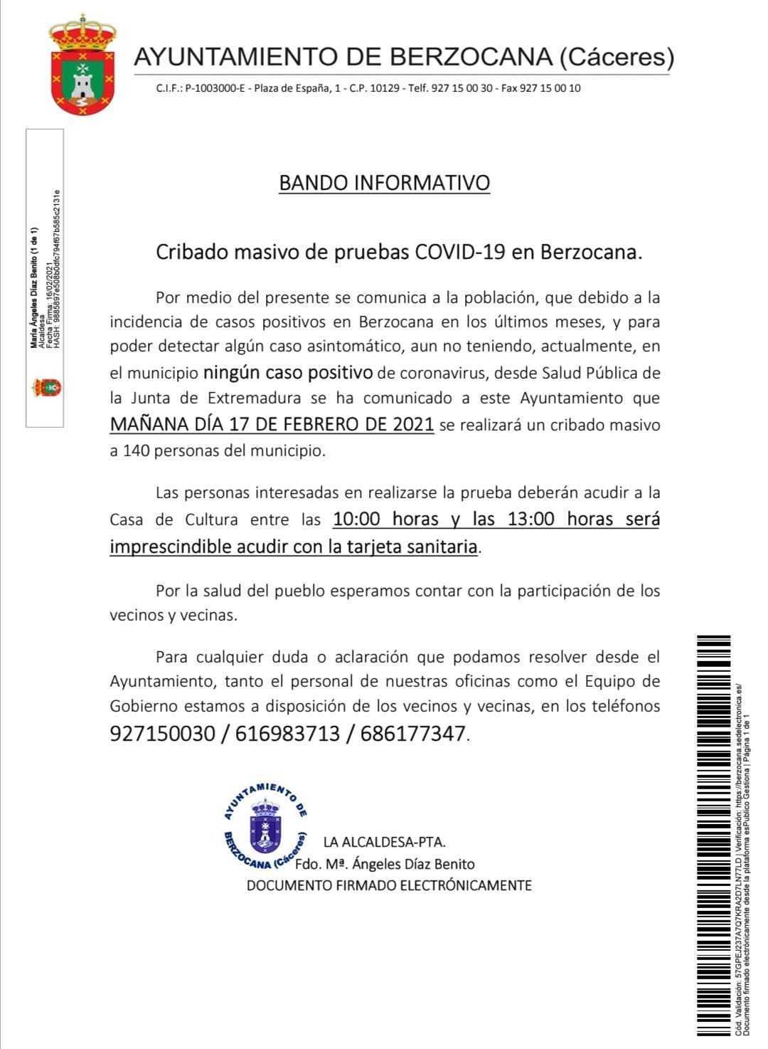 Cribado masivo de COVID-19 (febrero 2021) - Berzocana (Cáceres)