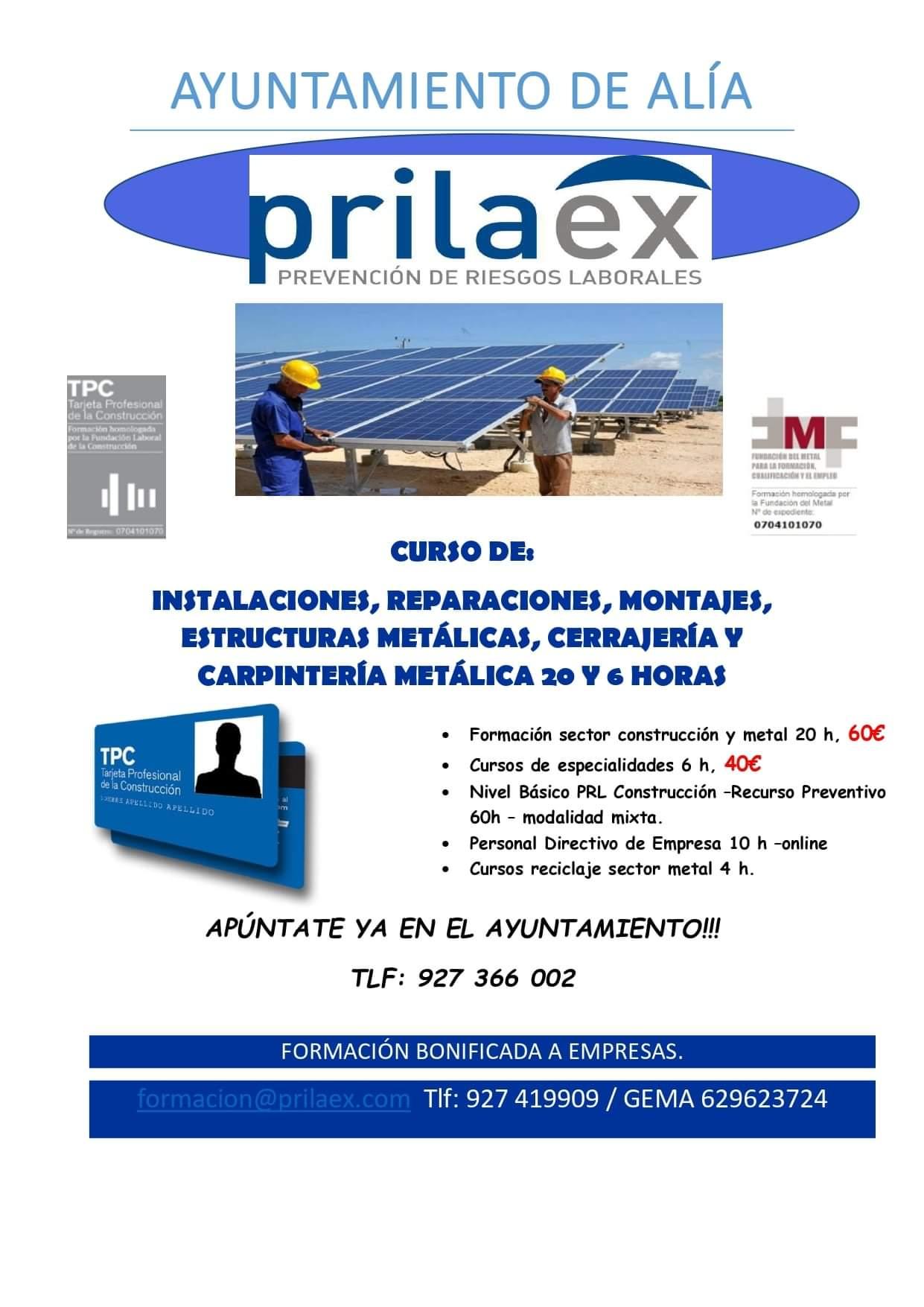 Curso de instalaciones, reparaciones, montajes, estructuras metálicas, cerrajería y carpintería metálica (2021) - Alía (Cáceres)