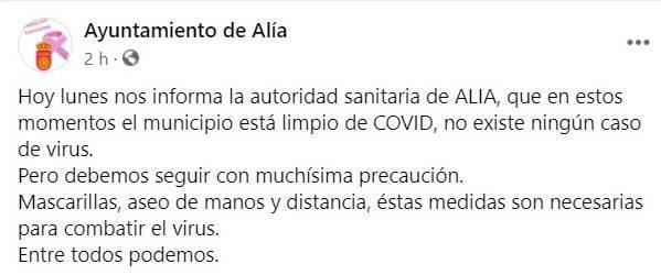Libre de COVID-19 (febrero 2021) - Alía (Cáceres)