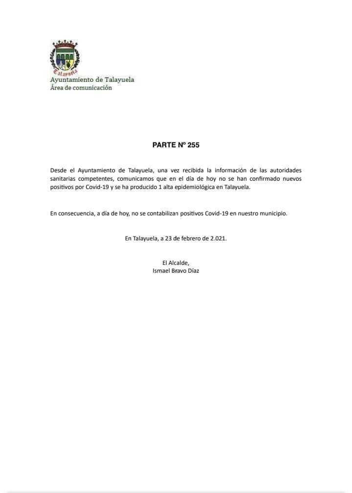 Libre de COVID-19 (febrero 2021) - Talayuela (Cáceres)