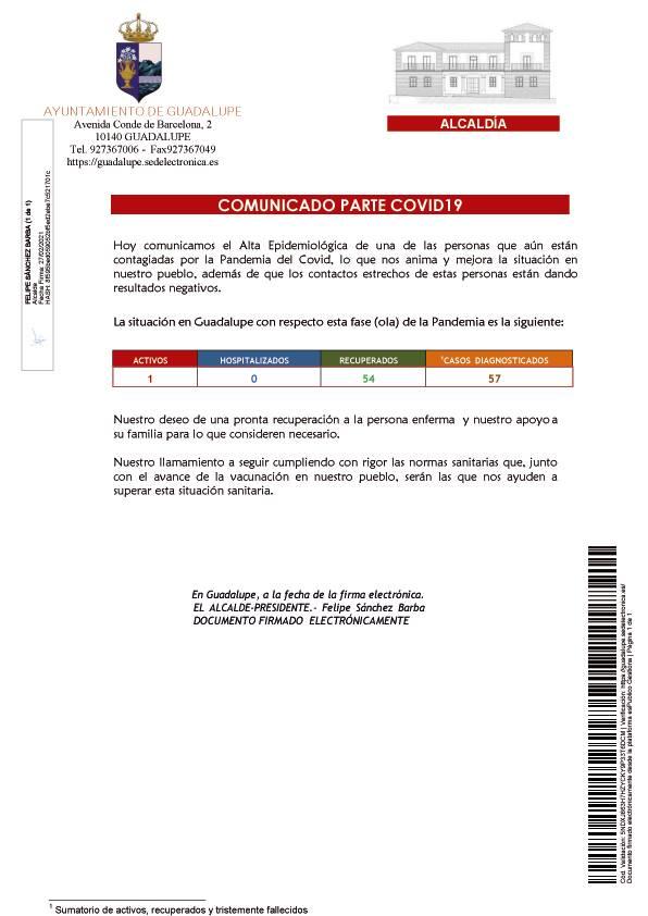 Nueva alta de COVID-19 (febrero 2021) - Guadalupe (Cáceres)