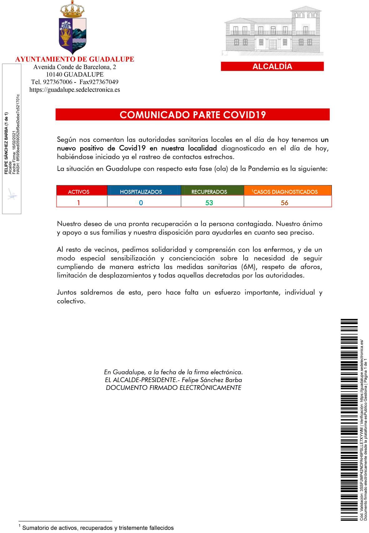 Nuevo caso positivo y cribado de COVID-19 (febrero 2021) - Guadalupe (Cáceres) 1