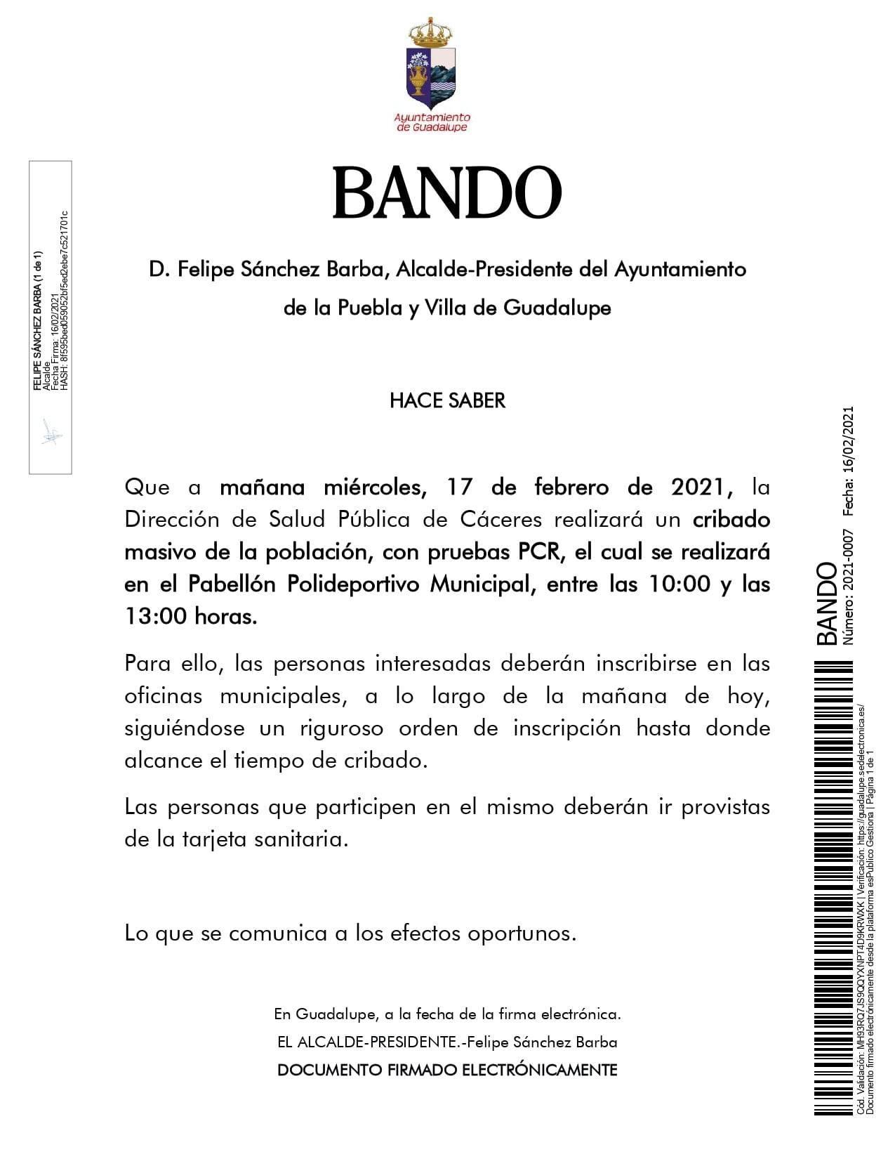 Nuevo caso positivo y cribado de COVID-19 (febrero 2021) - Guadalupe (Cáceres) 2