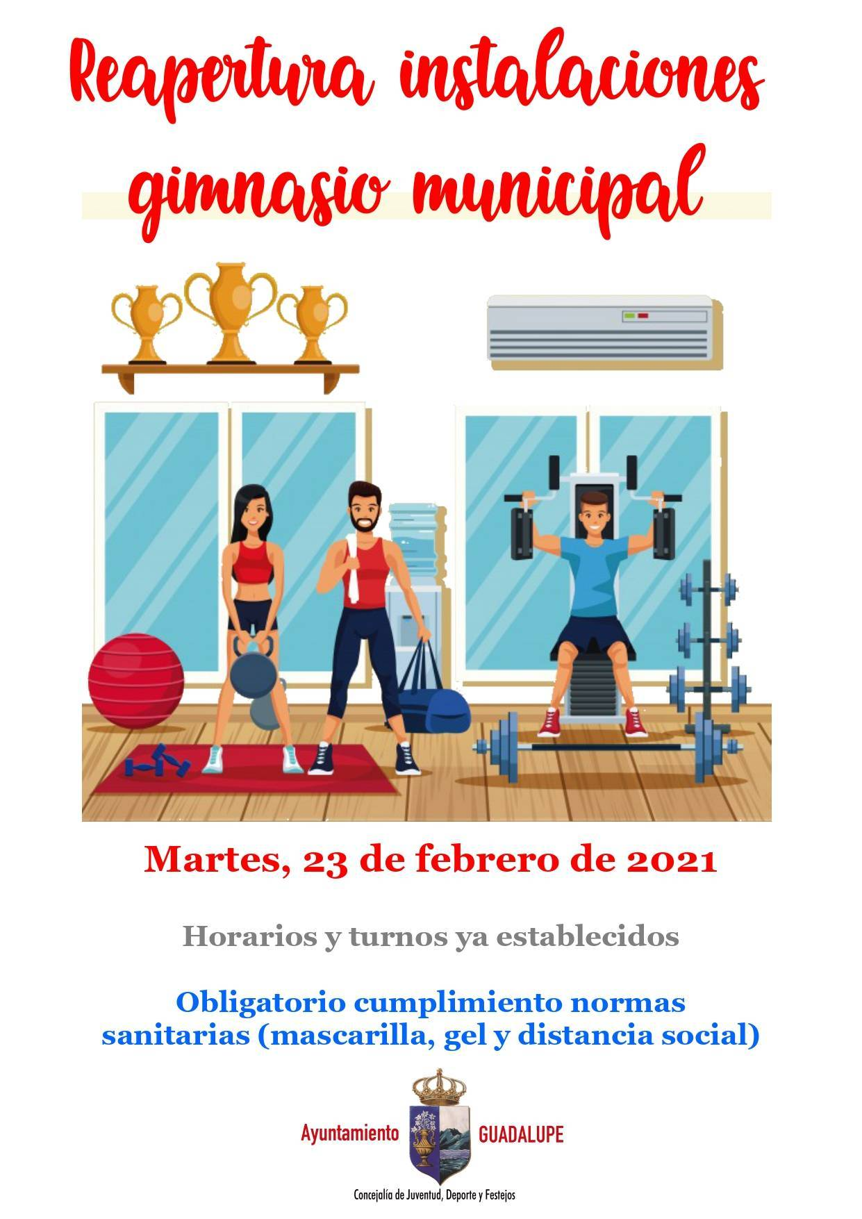 Reapertura del gimnasio municipal (febrero 2021) - Guadalupe (Cáceres)