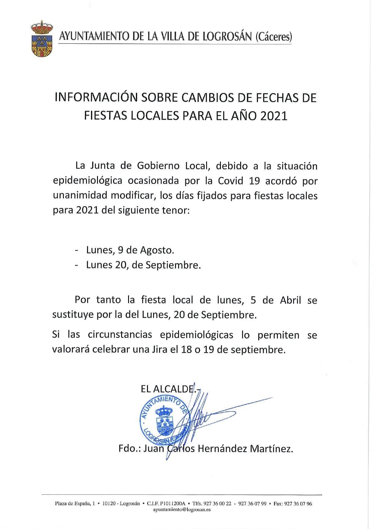 Cambios de fechas de fiestas locales (2021) - Logrosán (Cáceres)