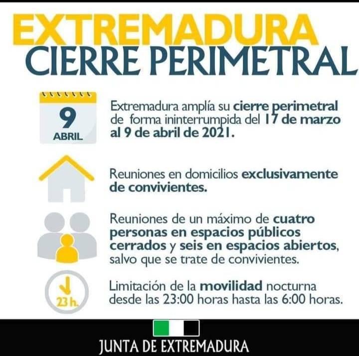 Cierre perimetral de Extremadura (marzo-abril 2021)