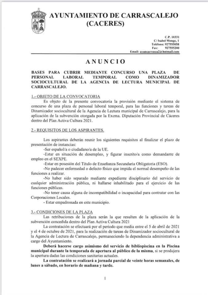Dinamizador sociocultural (2021) - Carrascalejo (Cáceres) 1