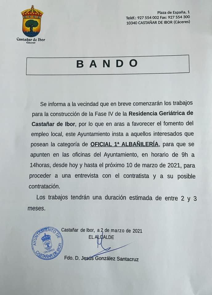 Oficial de primera de albañilería (marzo 2021) - Castañar de Ibor (Cáceres)