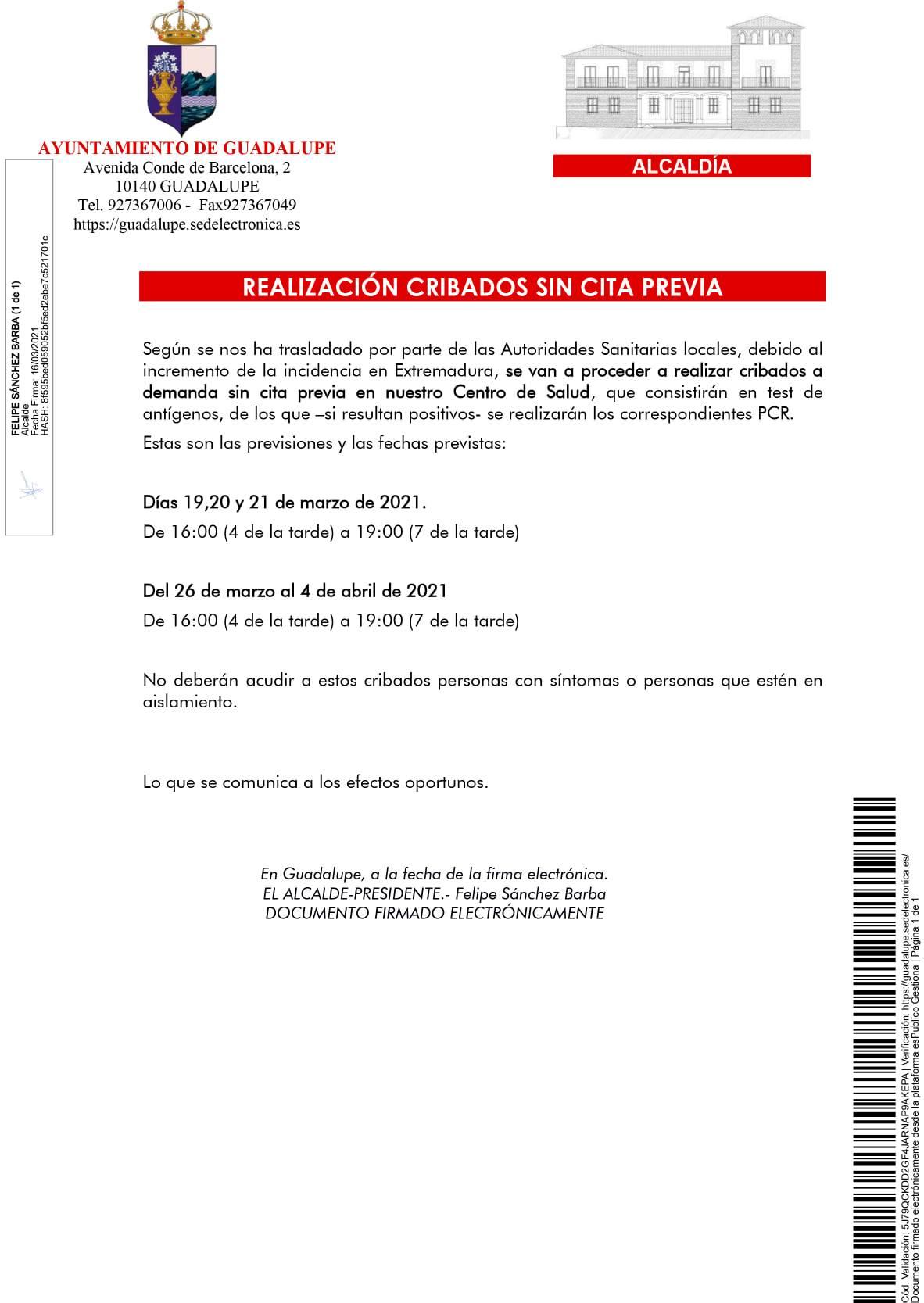 Realización de cribados de COVID-19 (marzo y abril 2021) - Guadalupe (Cáceres)