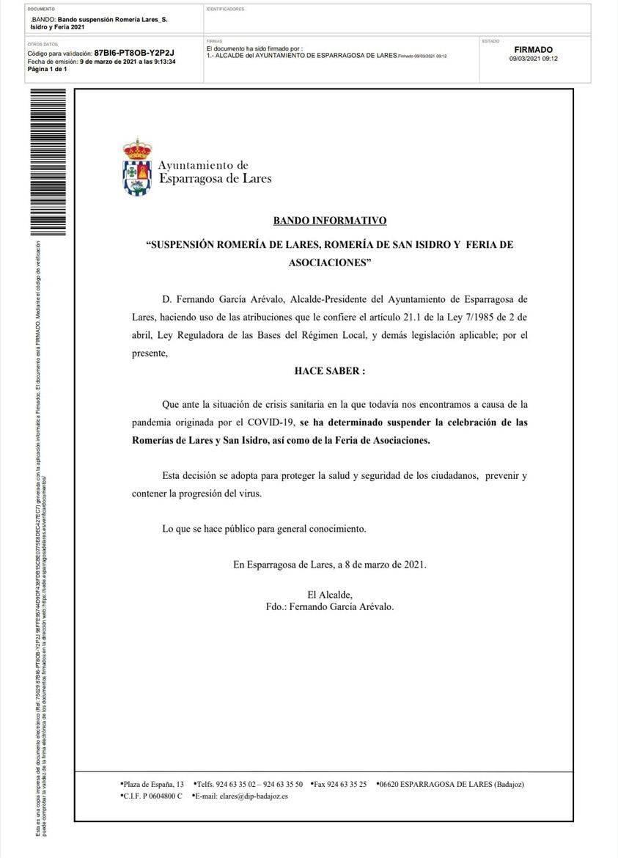 Suspensión de romerías y ferias (2021) - Esparragosa de Lares (Badajoz)