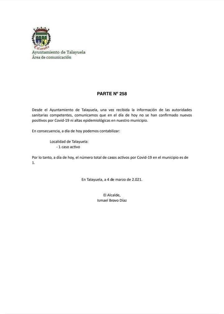 Un caso positivo activo de COVID-19 (marzo 2021) - Talayuela (Cáceres)