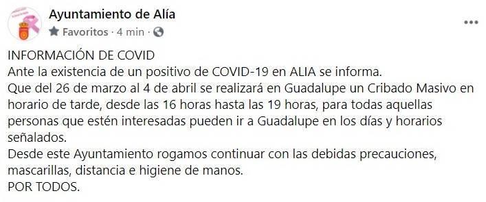 Un caso positivo de COVID-19 (marzo 2021) - Alía (Cáceres)