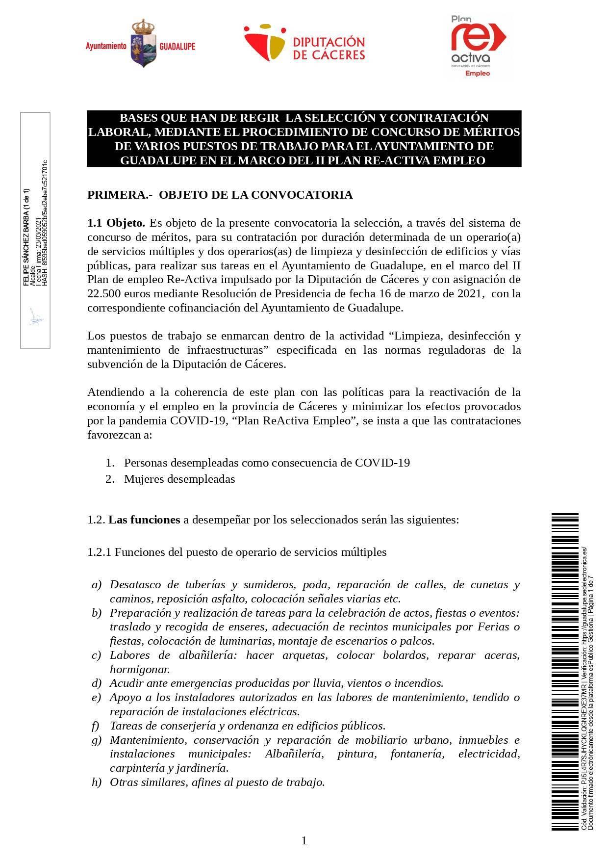 Un operario-a de servicios múltiples y dos operarios-as de limpieza (2021) - Guadalupe (Cáceres) 1