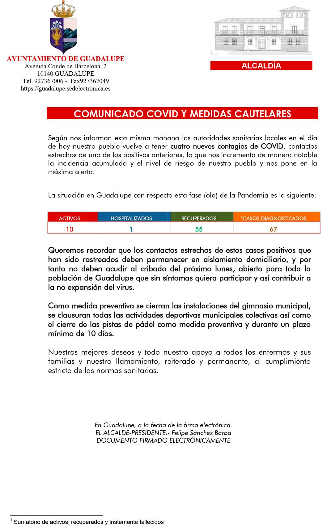 10 casos positivos activos de COVID-19 (abril 2021) - Guadalupe (Cáceres)