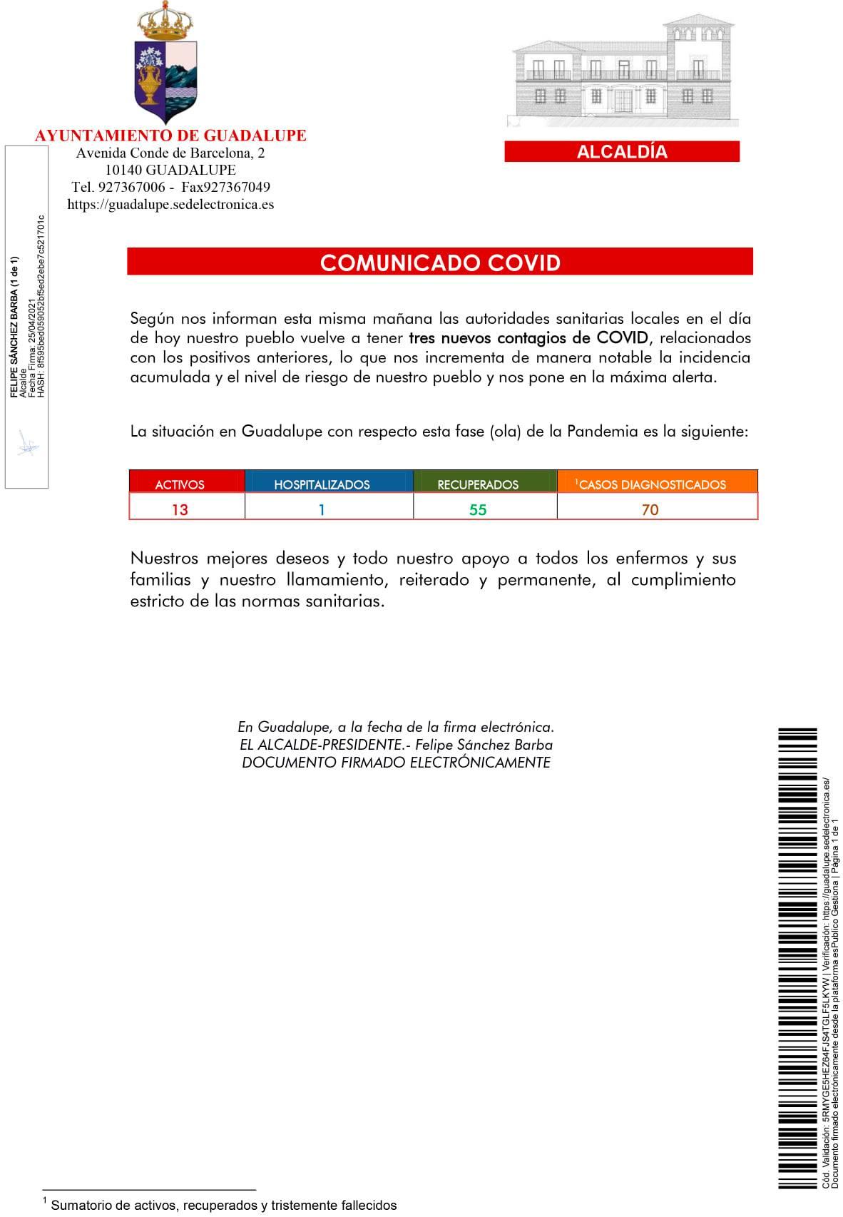 13 casos positivos activos de COVID-19 (abril 2021) - Guadalupe (Cáceres)