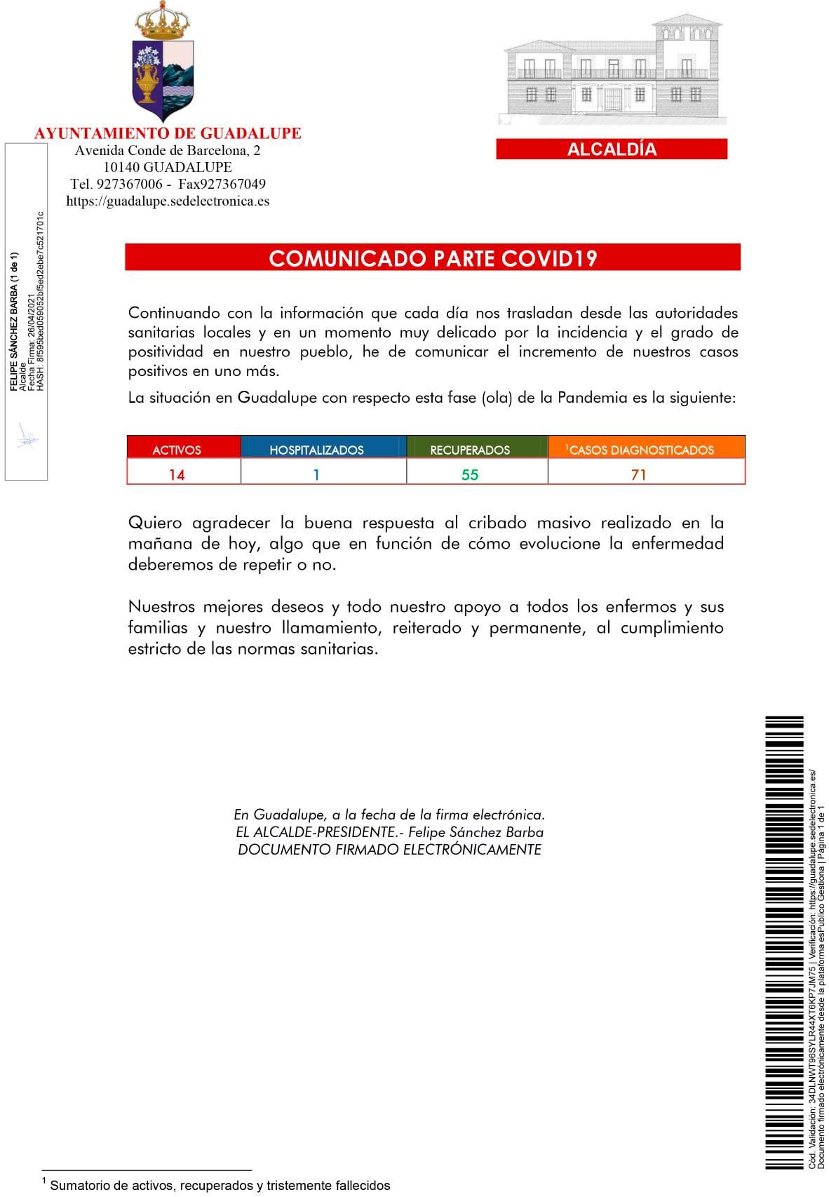 14 casos positivos activos de COVID-19 (abril 2021) - Guadalupe (Cáceres)