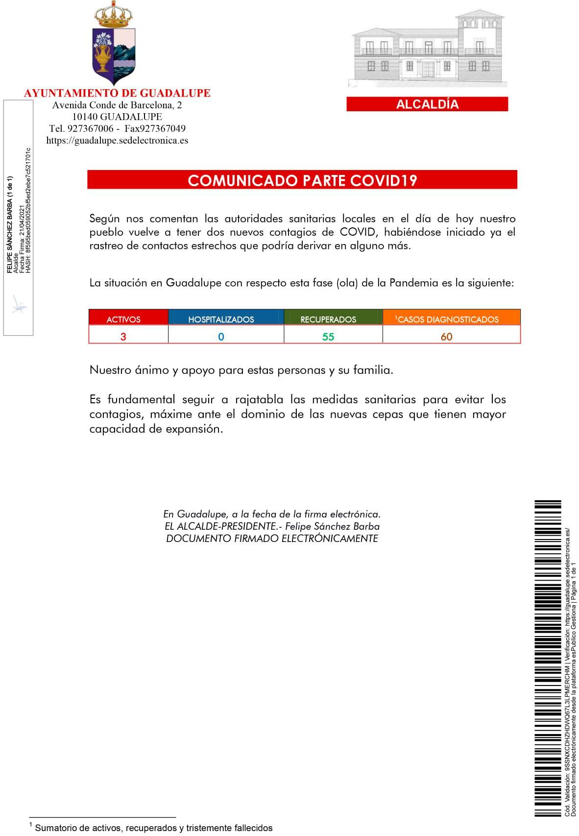 2 nuevos casos positivos de COVID-19 (abril 2021) - Guadalupe (Cáceres)