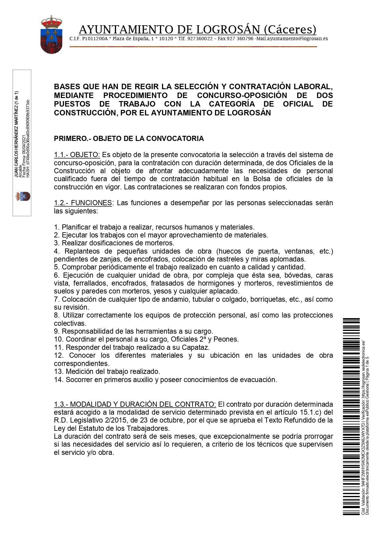 2 oficiales de construcción (2021) - Logrosán (Cáceres) 1