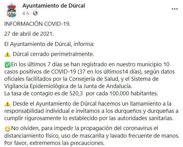 37 casos positivos de COVID-19 (abril 2021) - Dúrcal (Granada)