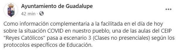 4 nuevos positivos y cierre de un aula del colegio por COVID-19 (abril 2021) - Guadalupe (Cáceres) 1