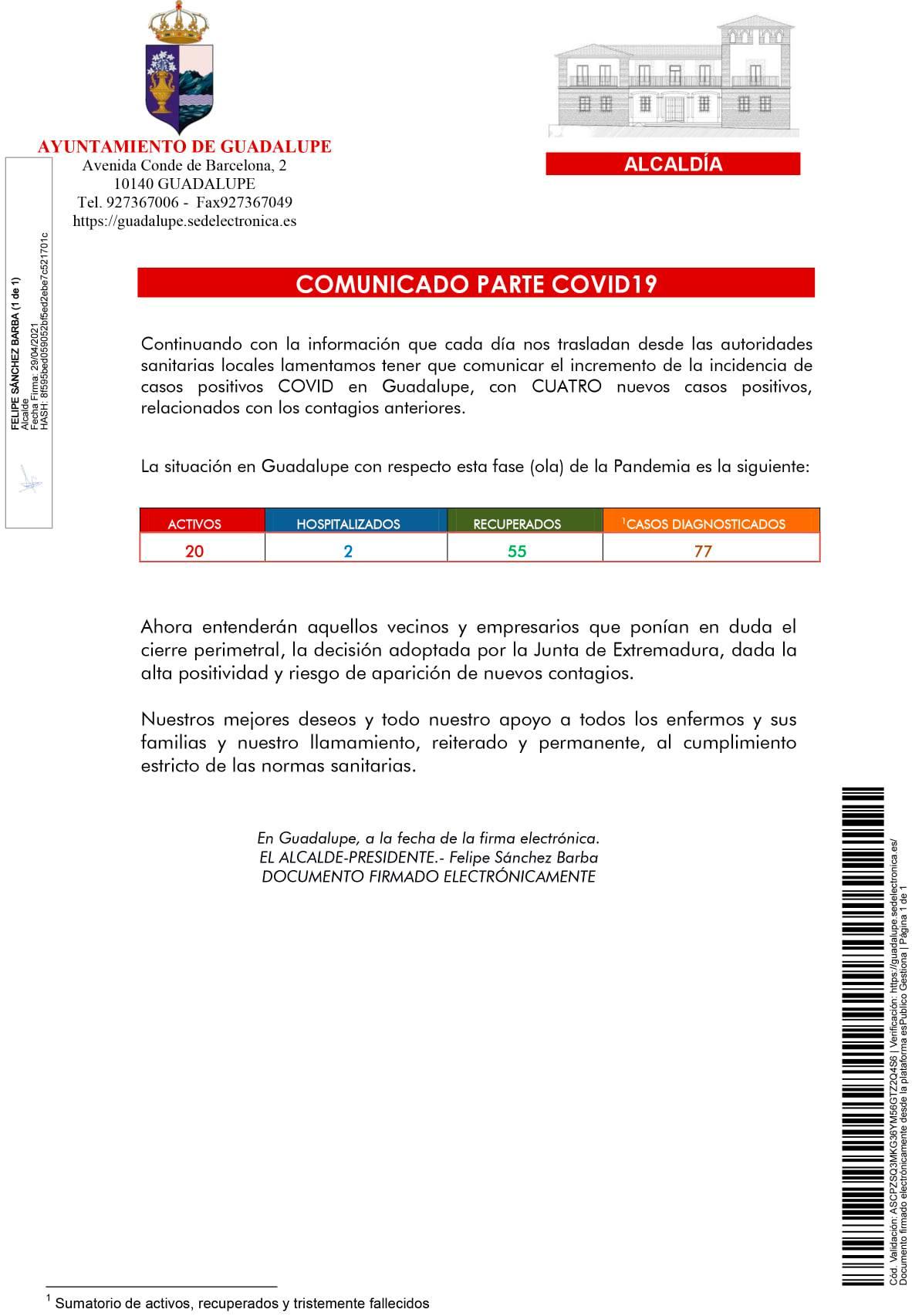 4 nuevos positivos y cierre de un aula del colegio por COVID-19 (abril 2021) - Guadalupe (Cáceres) 2