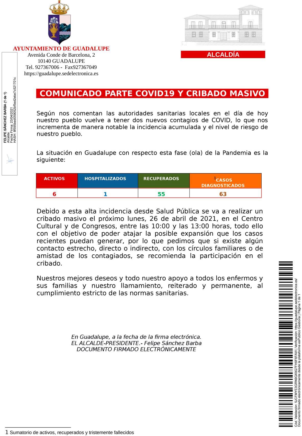 6 casos positivos activos de COVID-19 (abril 2021) - Guadalupe (Cáceres)