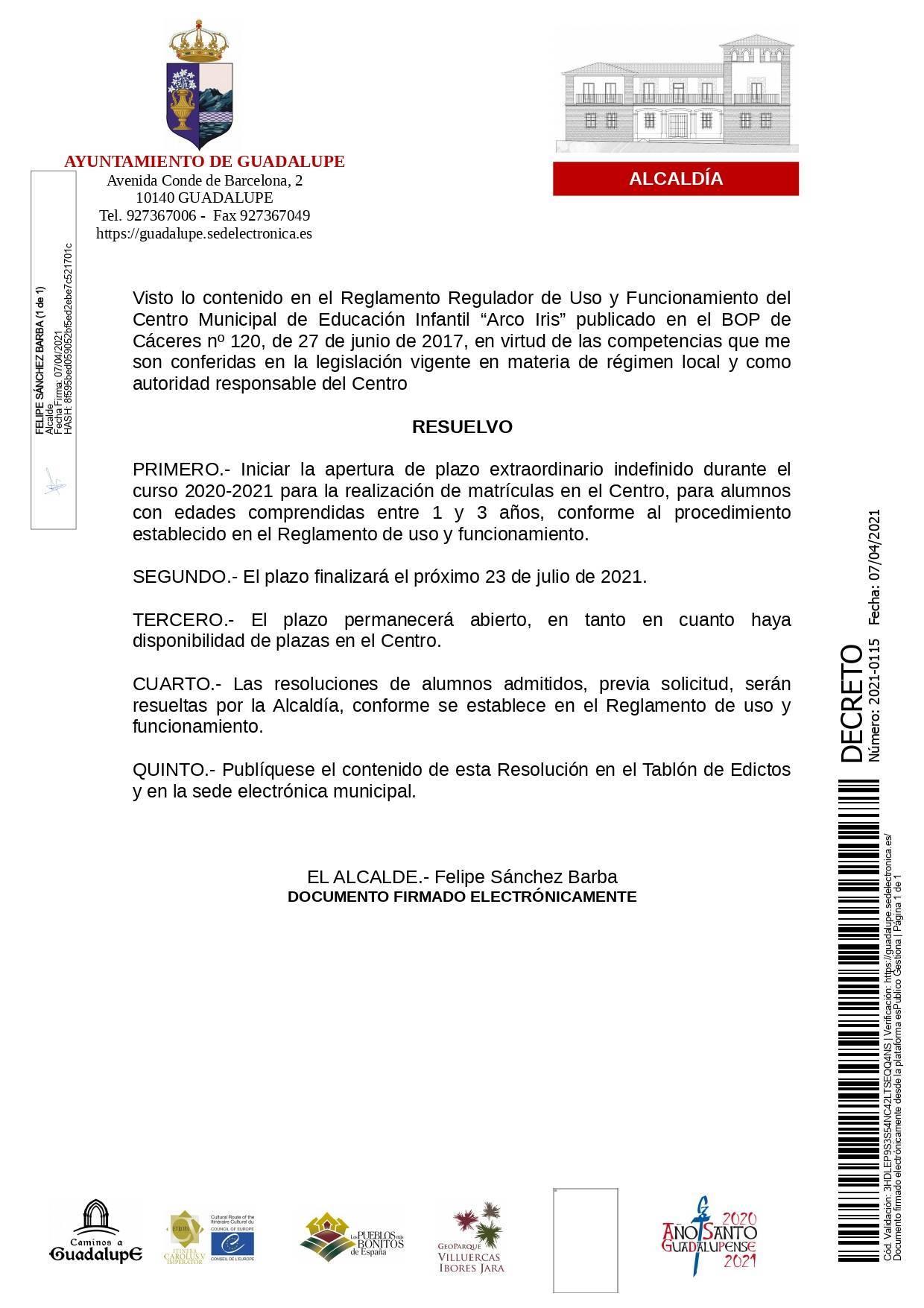 Apertura de plazo extraordinario de la guardería (2021) - Guadalupe (Cáceres)