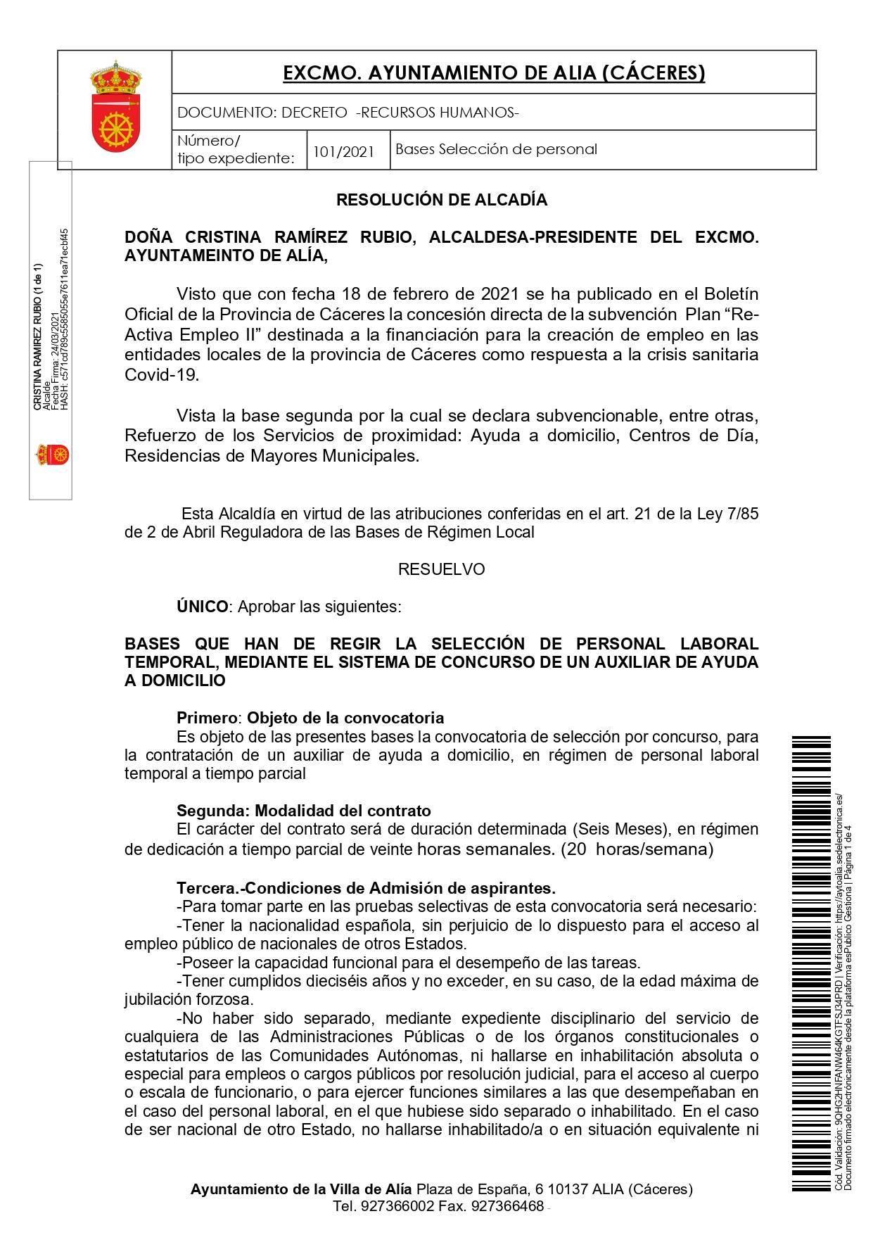 Auxiliar de ayuda a domicilio (2021) - Alía (Cáceres) 1