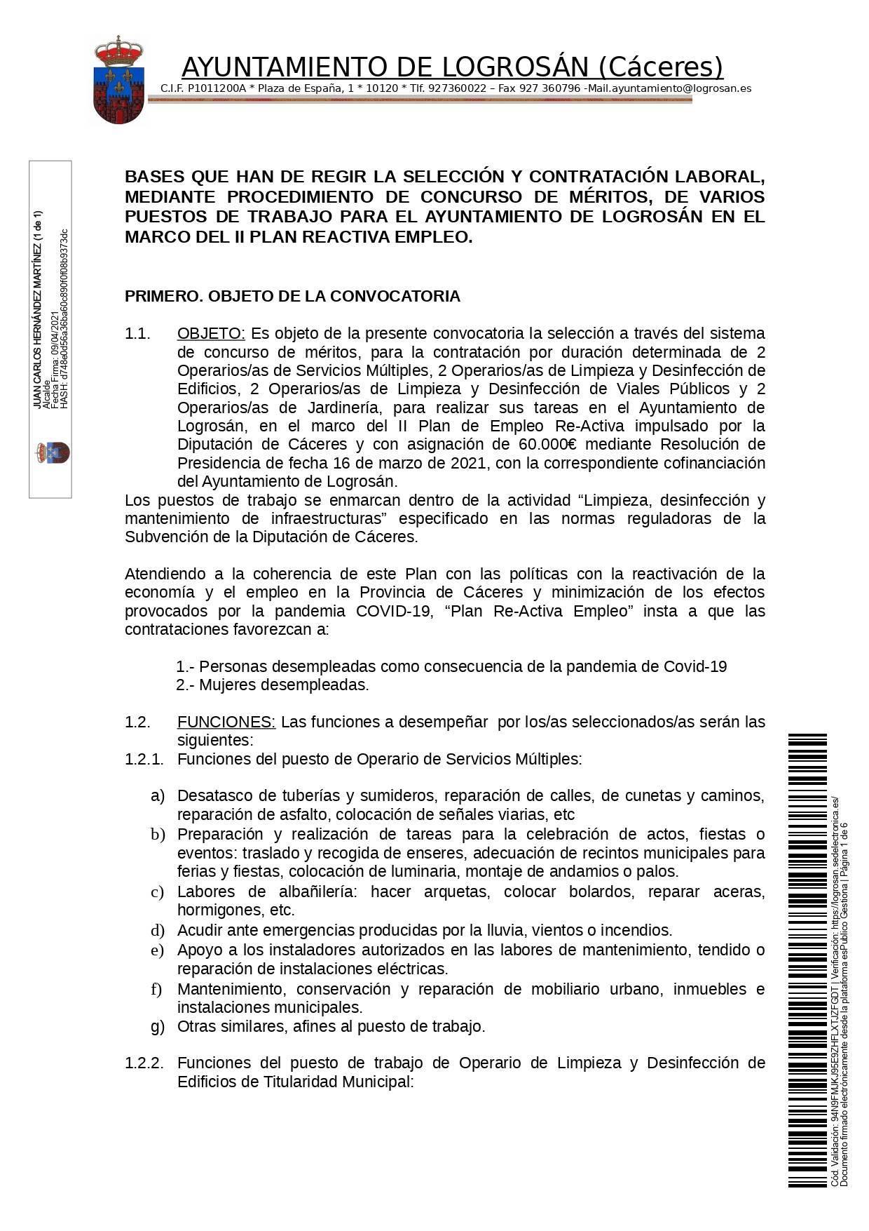 Bases para 8 puestos de trabajo (2021) - Logrosán (Cáceres) 1