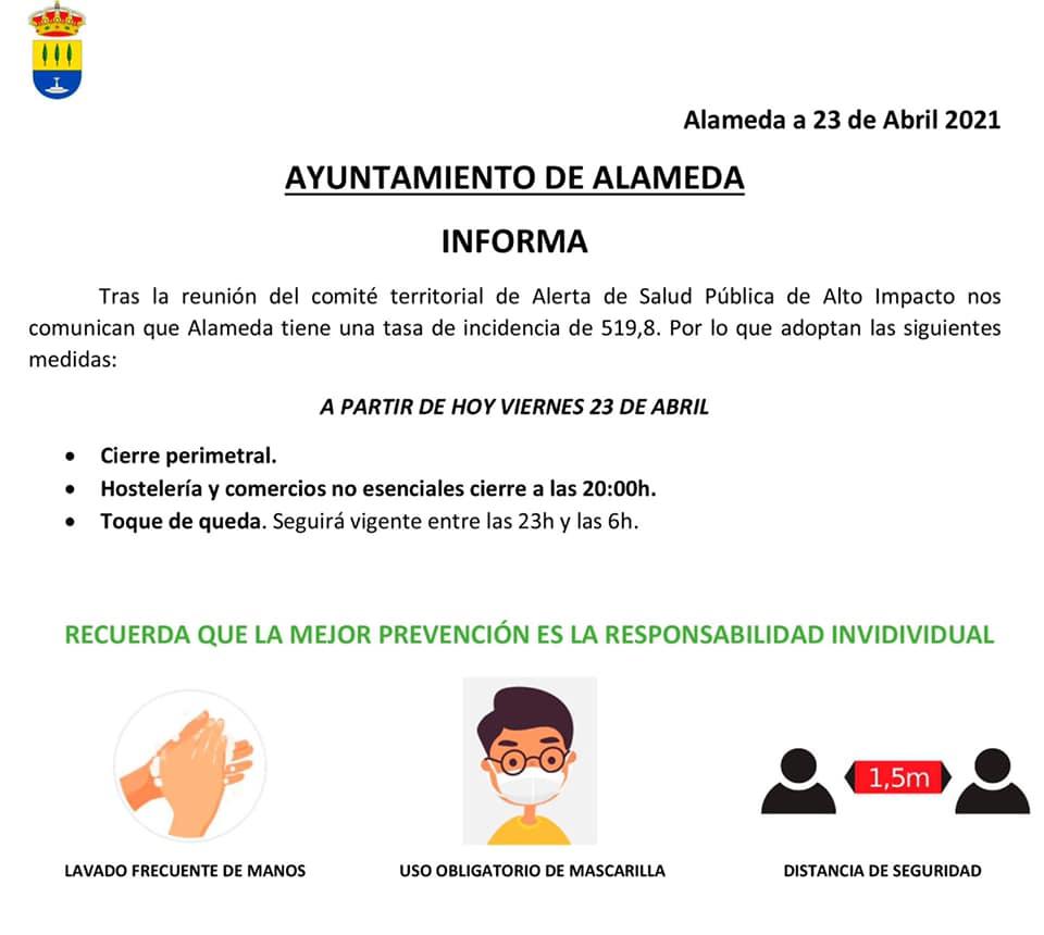Cierre perimetral por COVID-19 (abril 2021) - Alameda (Málaga)