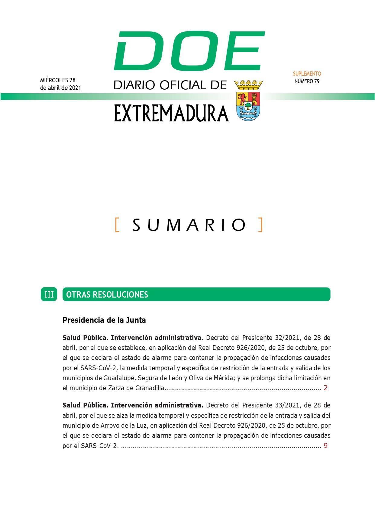 Cierre perimetral por COVID-19 (abril 2021) - Guadalupe (Cáceres) 1