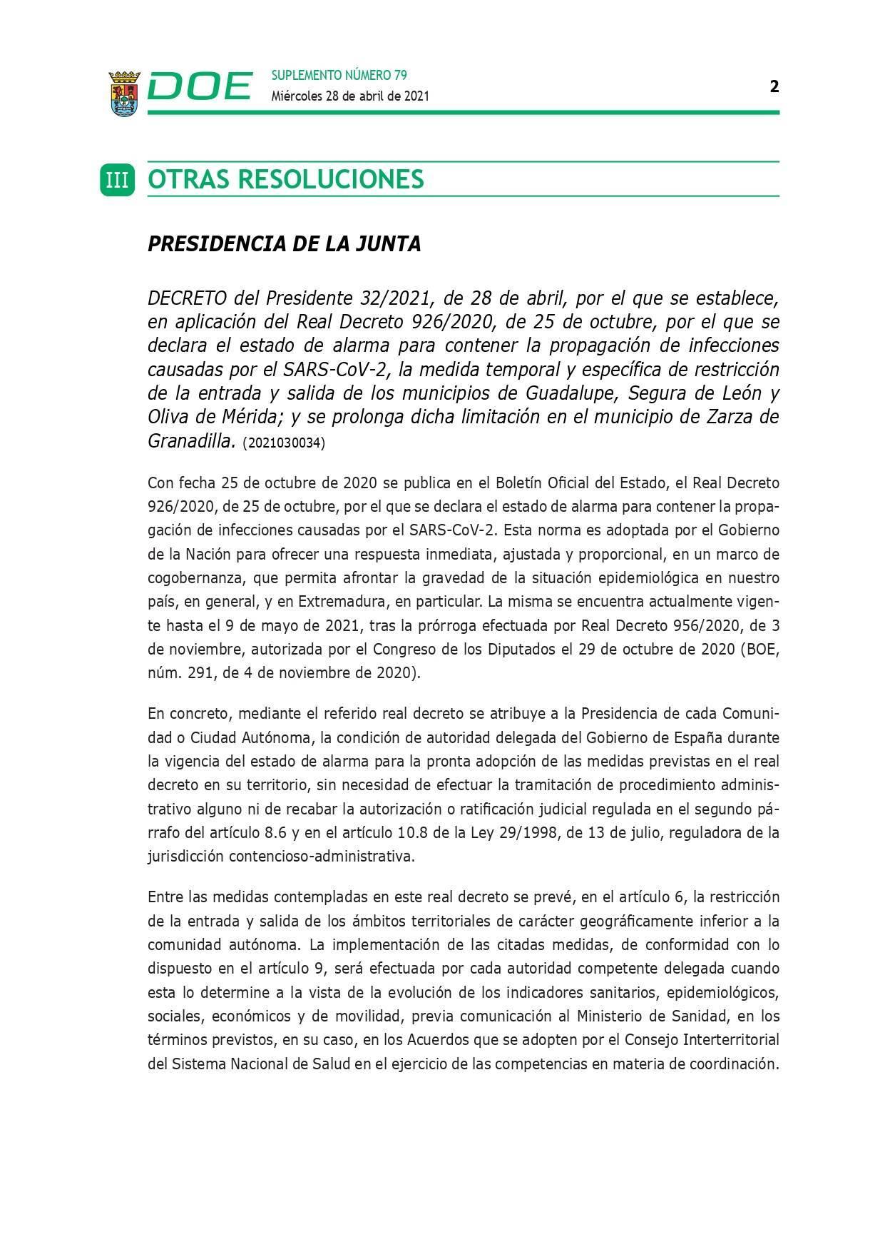 Cierre perimetral por COVID-19 (abril 2021) - Guadalupe (Cáceres) 2