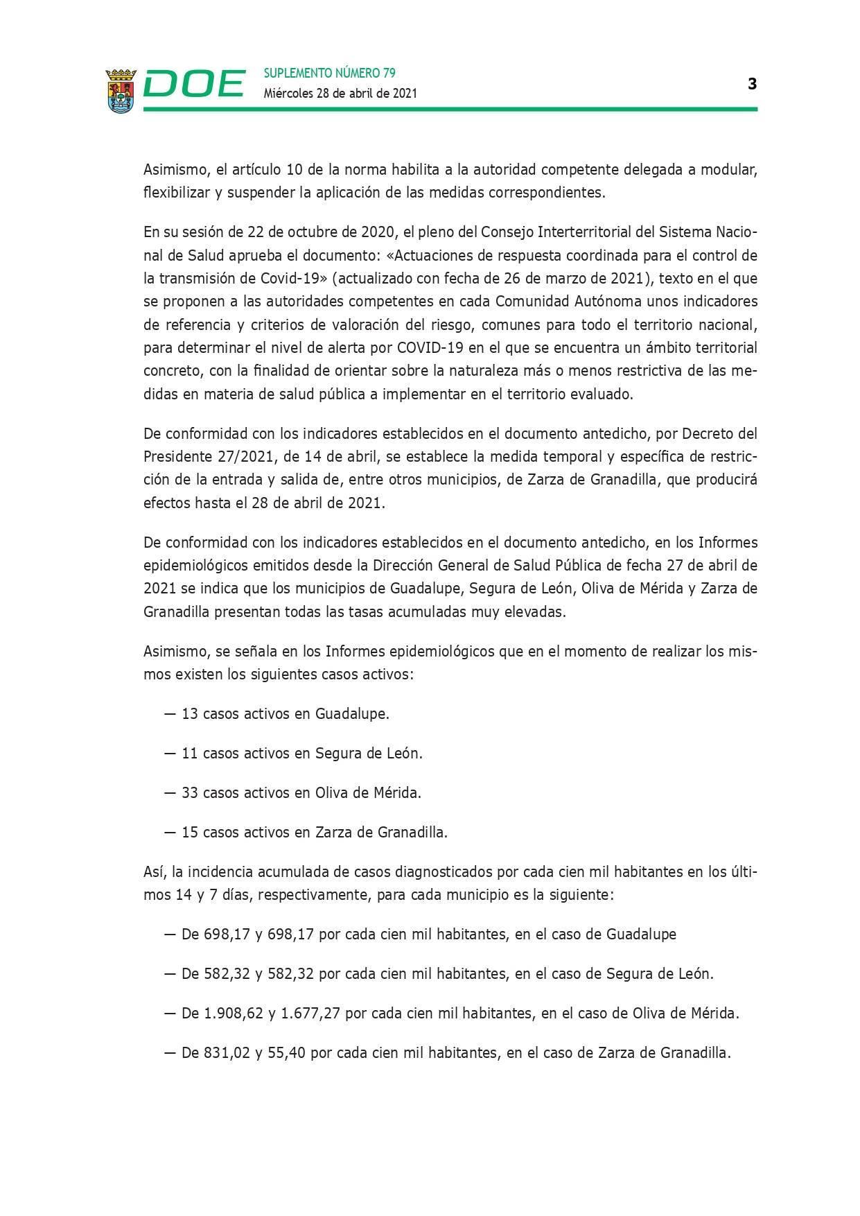 Cierre perimetral por COVID-19 (abril 2021) - Guadalupe (Cáceres) 3