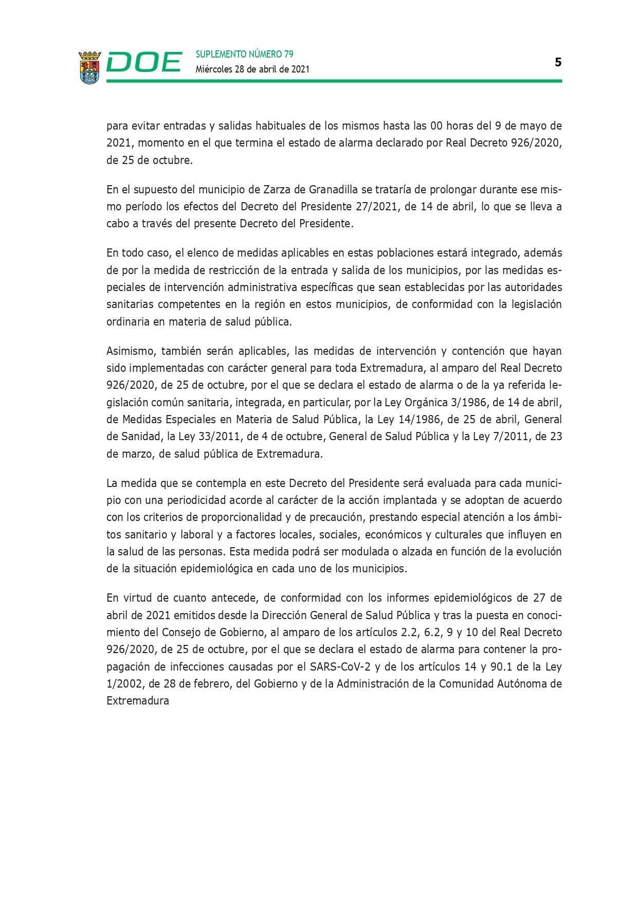 Cierre perimetral por COVID-19 (abril 2021) - Guadalupe (Cáceres) 5