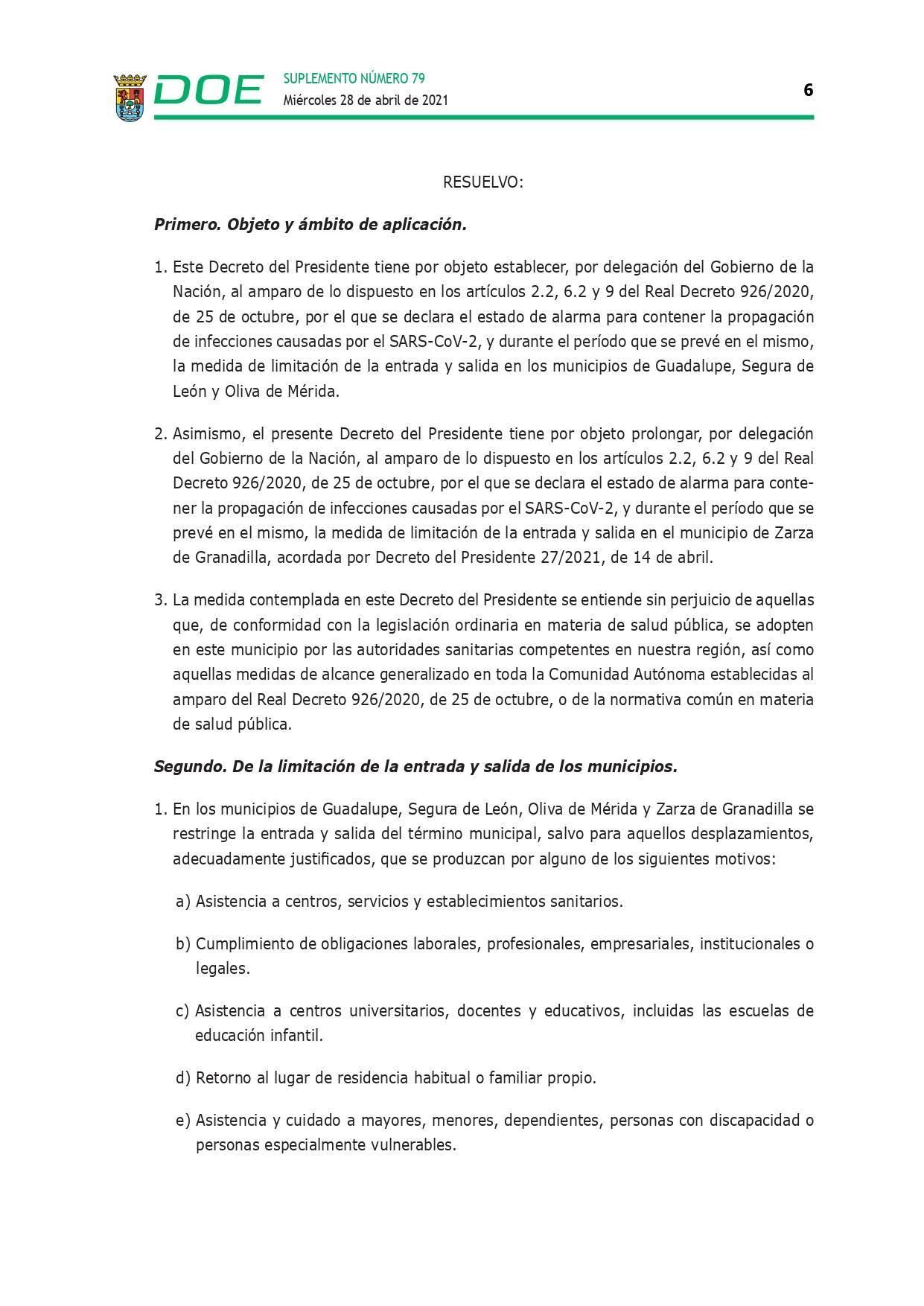 Cierre perimetral por COVID-19 (abril 2021) - Guadalupe (Cáceres) 6