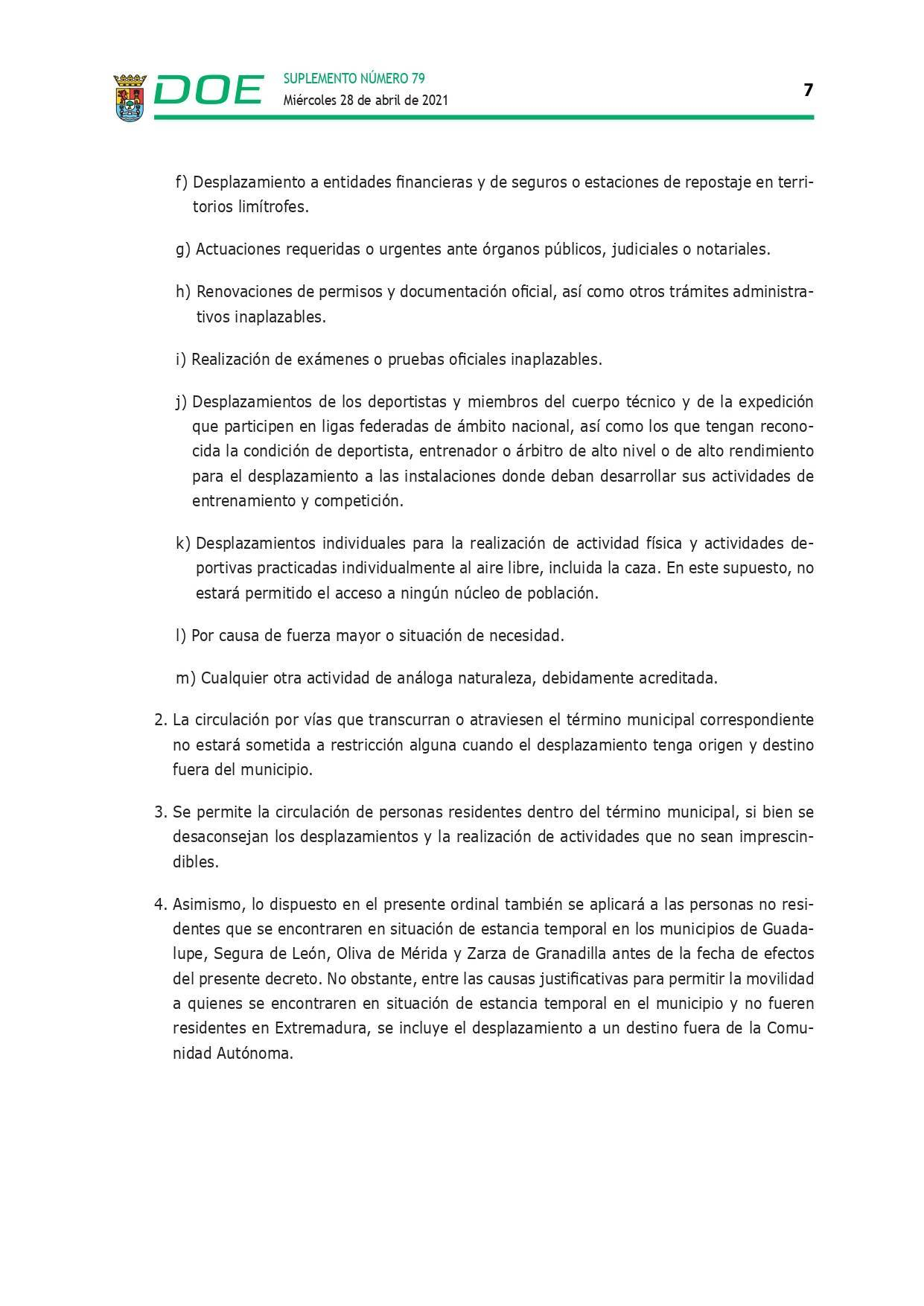 Cierre perimetral por COVID-19 (abril 2021) - Guadalupe (Cáceres) 7