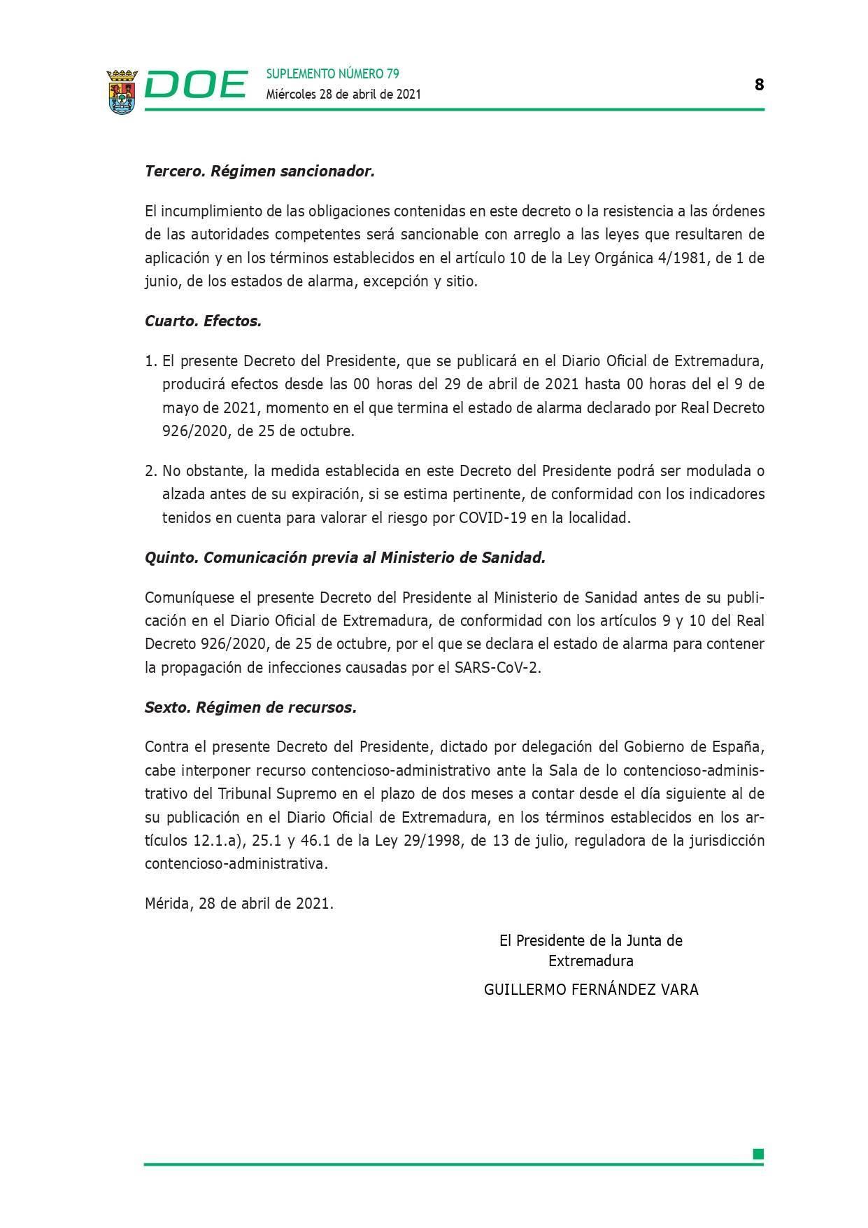 Cierre perimetral por COVID-19 (abril 2021) - Guadalupe (Cáceres) 8
