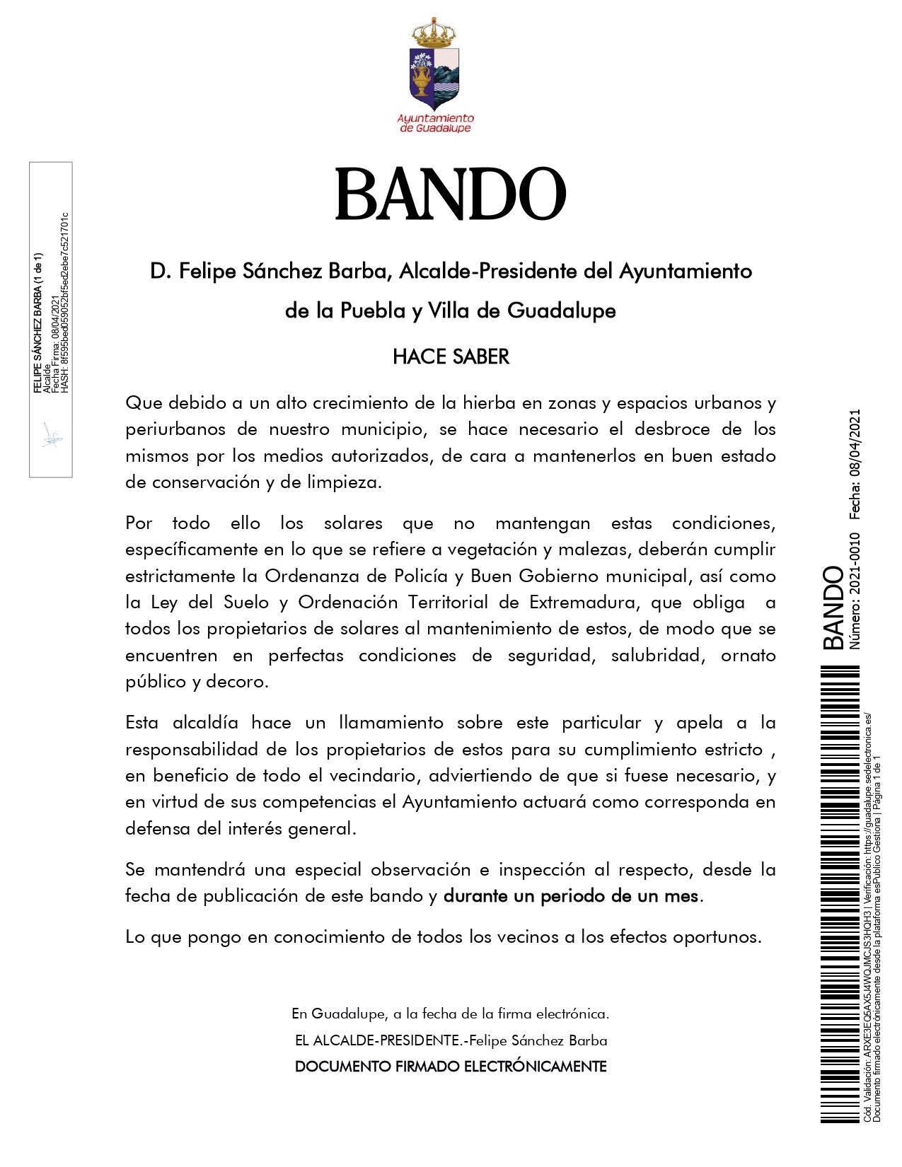 Desbroce de solares (2021) - Guadalupe (Cáceres)