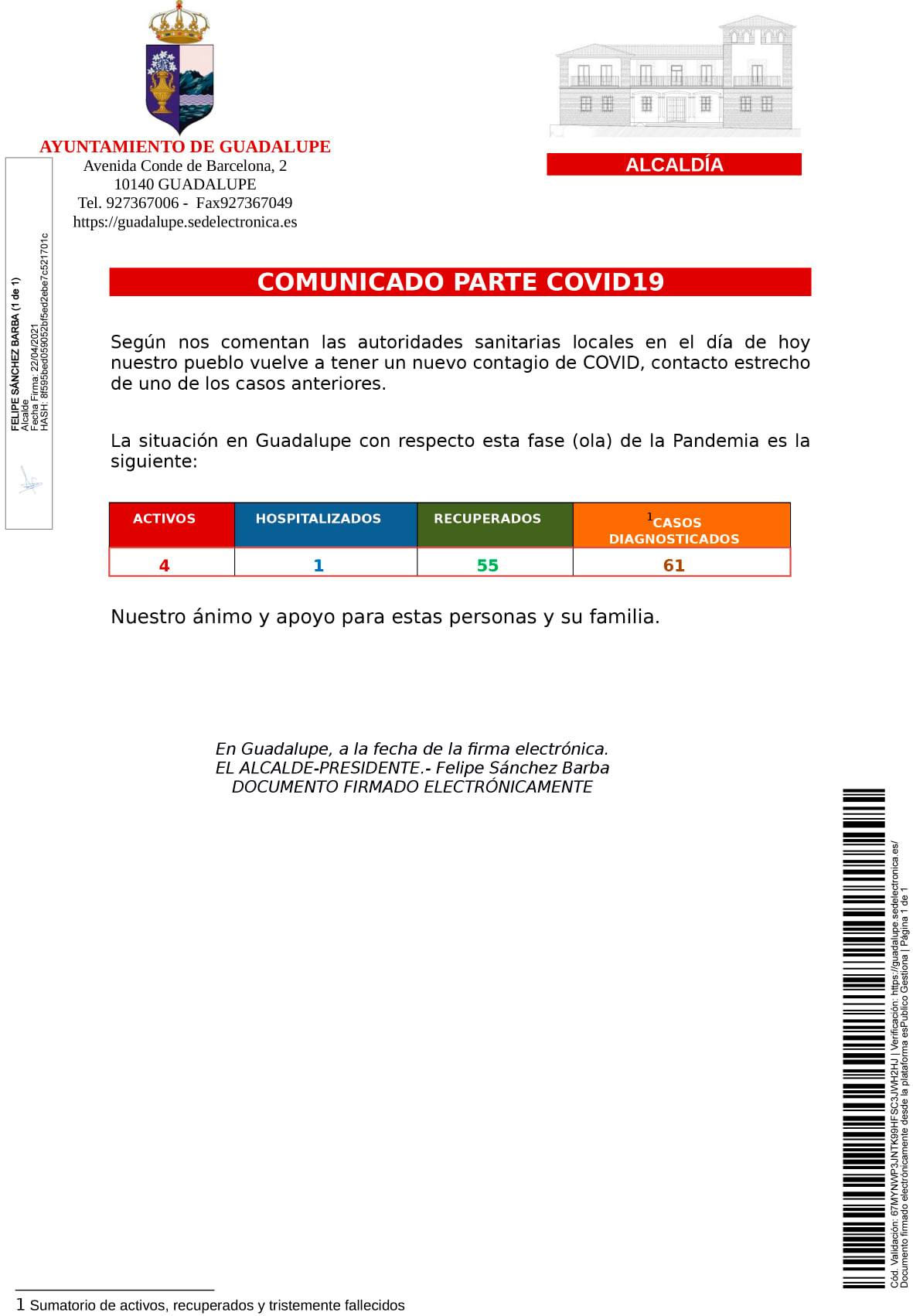 Nuevo caso positivo de COVID-19 (abril 2021) - Guadalupe (Cáceres)