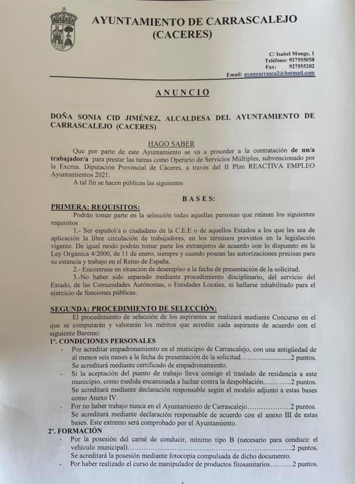 Operario-a de servicios múltiples (abril 2021) - Carrascalejo (Cáceres) 1
