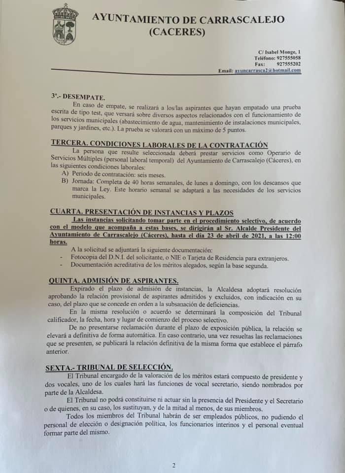 Operario-a de servicios múltiples (abril 2021) - Carrascalejo (Cáceres) 2
