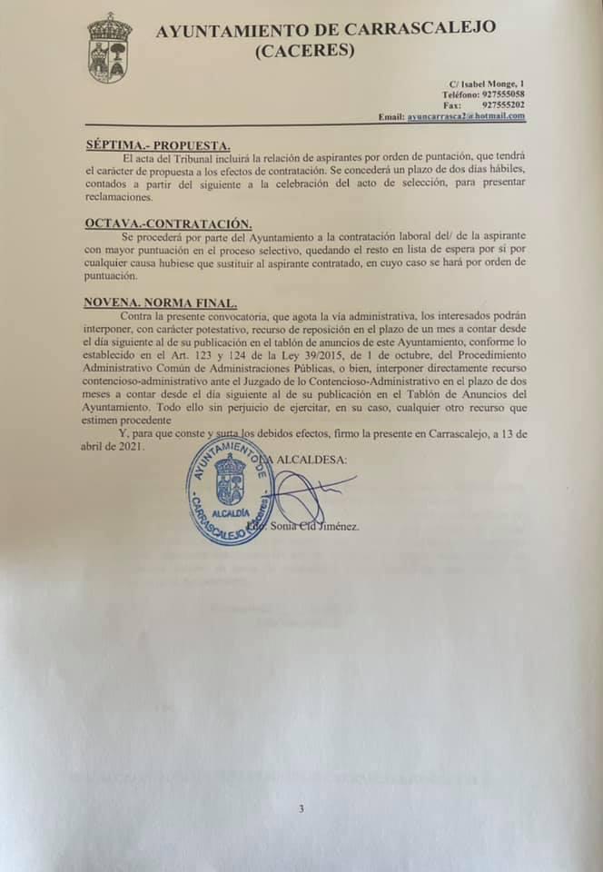 Operario-a de servicios múltiples (abril 2021) - Carrascalejo (Cáceres) 3