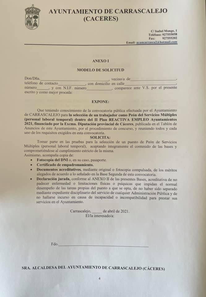 Operario-a de servicios múltiples (abril 2021) - Carrascalejo (Cáceres) 4