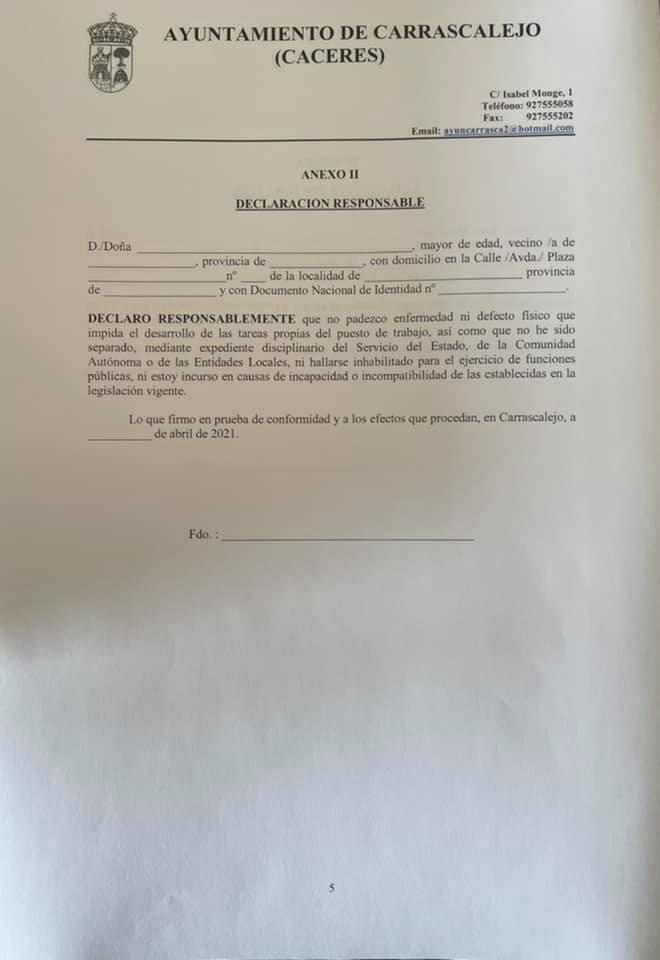 Operario-a de servicios múltiples (abril 2021) - Carrascalejo (Cáceres) 5