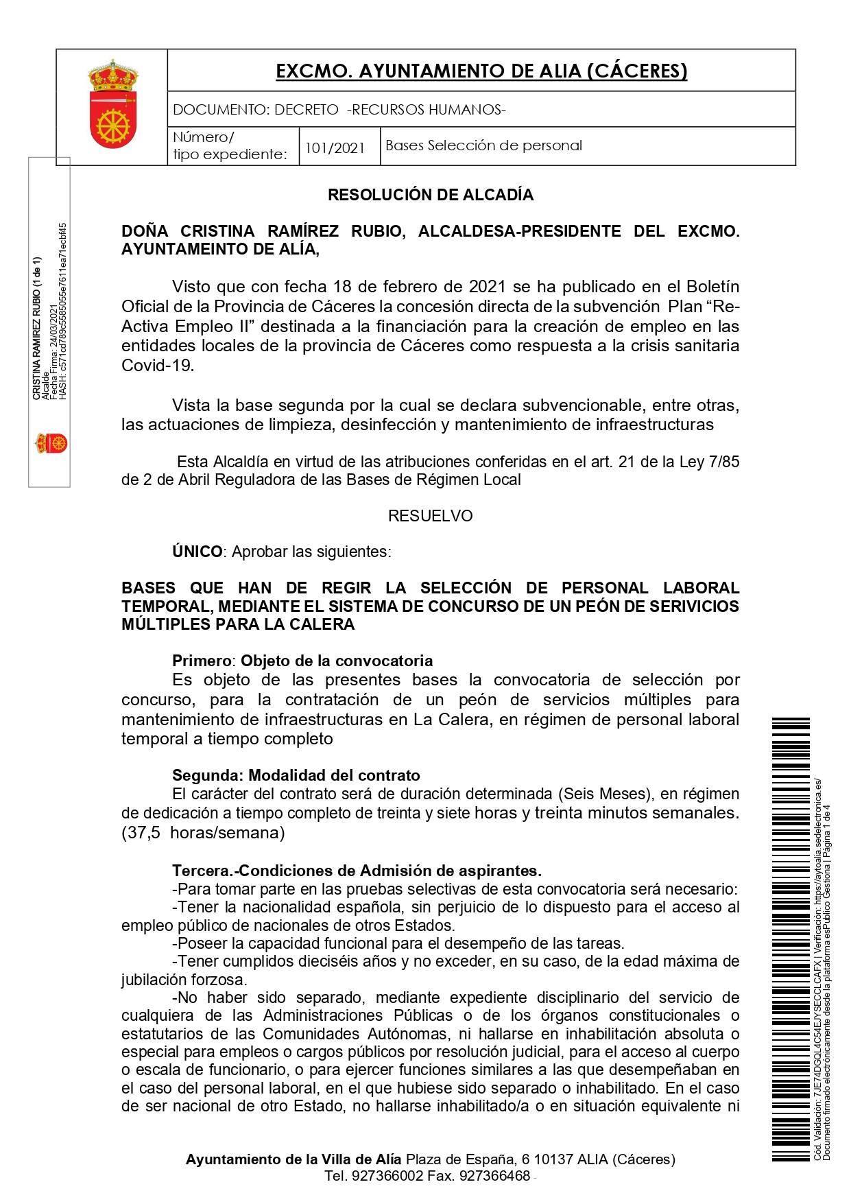 Peón de servicios múltiples (2021) - La Calera (Cáceres) 1