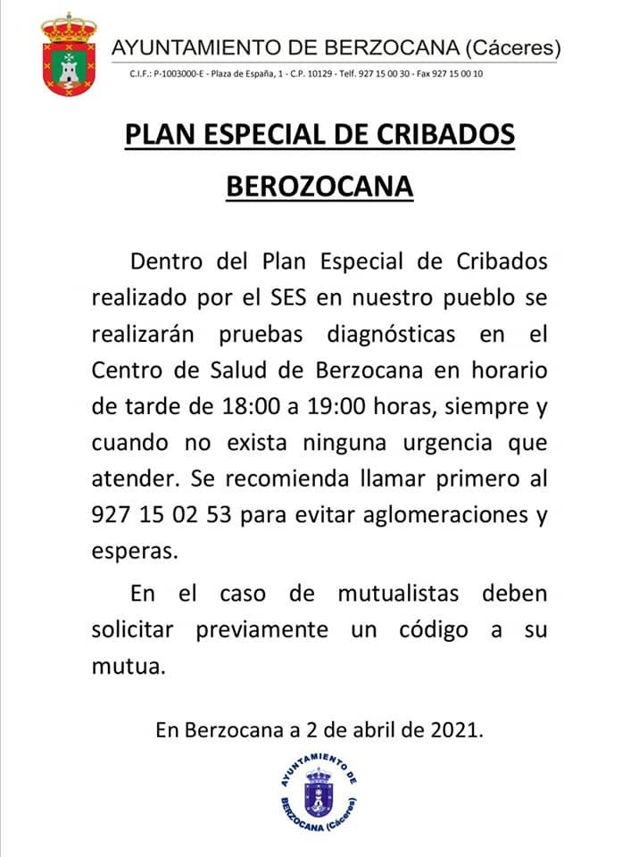 Plan especial de cribados de COVID-19 (abril 2021) - Berzocana (Cáceres)