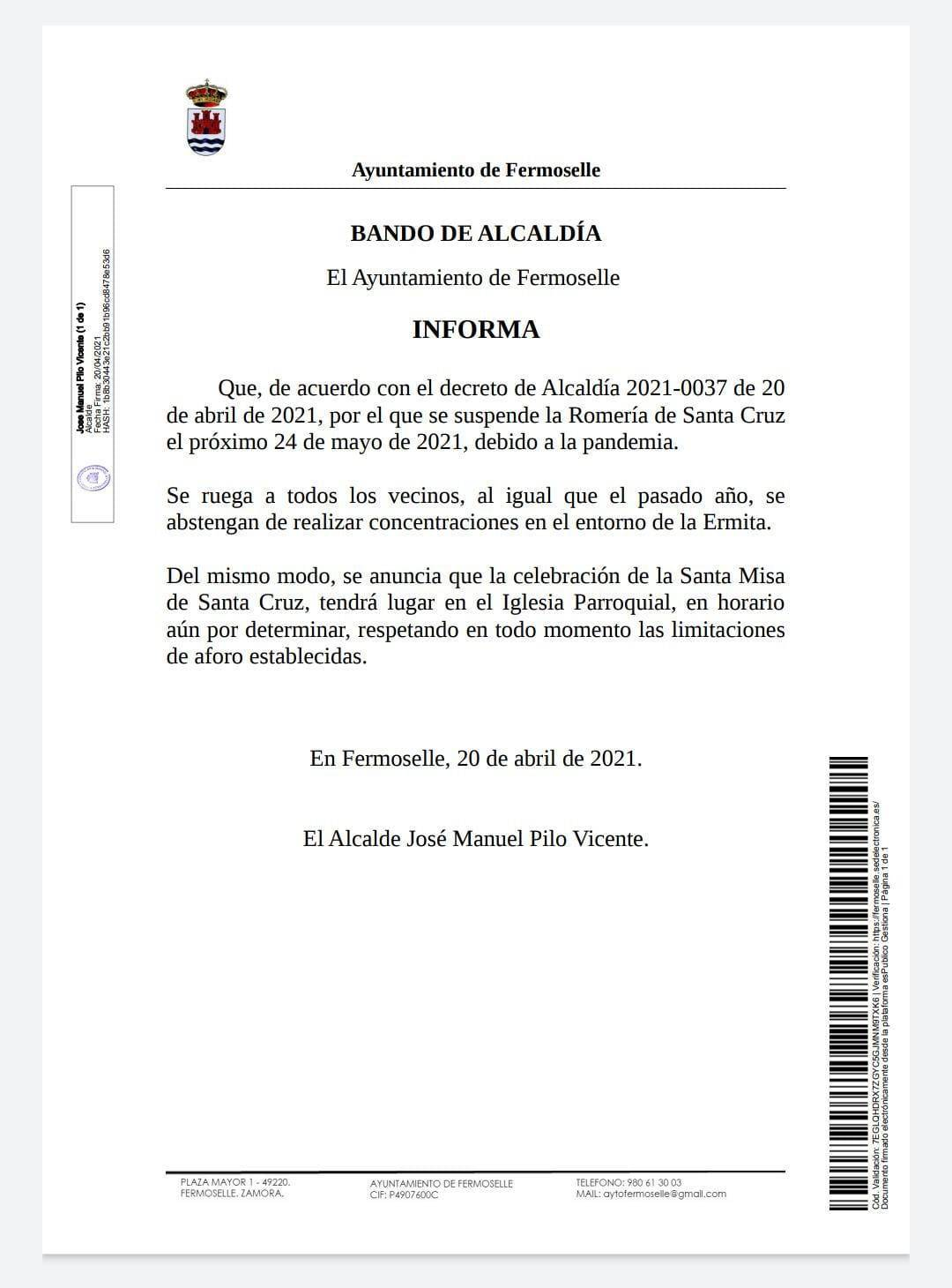 Se suspende la romería de Santa Cruz (2021) - Fermoselle (Zamora)